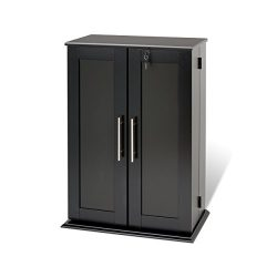 Black Locking Media Storage Cabinet with Shaker Doors