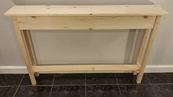 46″ Unfinished Pine Narrow Wall, Foyer, Sofa , Console, Hall Table With Bottom Shelf