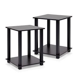 Furinno 12127EX/BK Simplistic End Table, Espresso/Black, Set of 2