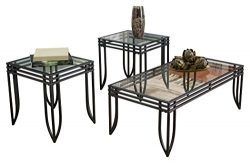 Ashley Furniture Signature Design – Exeter Glass Top Occasional Table Set – Contains ...
