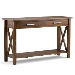 Simpli Home Kitchener Console Sofa Table, Medium Saddle Brown