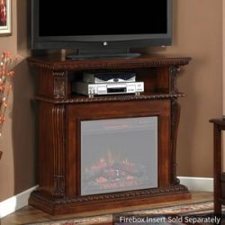 ClassicFlame 23DE1447-C233 Corinth Wall or Corner TV Stand for TVs up to 47″, Vintage Cher ...