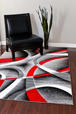 2305 Gray Black Red White Swirls 5'2 x7'2 Modern Abstract Area Rug Carpet by Persian ...