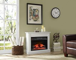 Whalen Furniture Fully Assembled Chesapeake 32″ Mantel Electric Fireplace, Pure White
