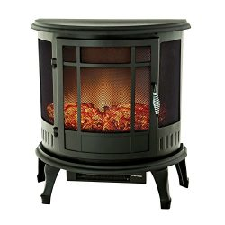 FLAME&SHADE Electric Fireplace Stove Heater, Portable Freestanding Fireplace Space Heater wi ...