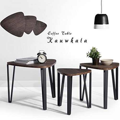 Coffee Table Set Of 3 End Side Table Nesting Corner Table Stacking Tea Table Brown Modern
