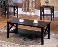 King's Brand 3 Pc. Cherry Finish Wood X Style Casual Coffee Table & 2 End Tables Occas ...