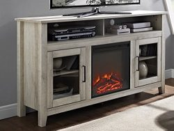 WE Furniture 58″ Wood Highboy Fireplace Media TV Stand Console – White Oak