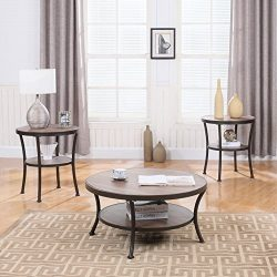 3 Piece Modern Round Coffee Table and 2 End Tables Living Room Set (Brown)