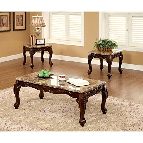 Faux White Marble Coffee Table Set: Furniture Of America Beltran 3-Piece Traditional Faux