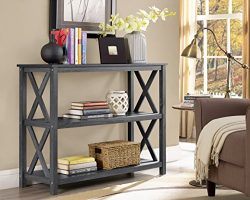 Weathered Grey 3-Tier Occasional Console Sofa Table Bookshelf