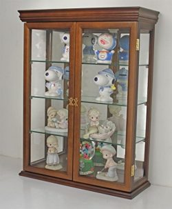 Tuscan Style Hardwood Wall Curio Cabinet, Stand or Wall Mount (WALNUT)