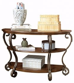 Ashley Furniture Signature Design – Nestor Sofa Table – 2 Shelf – Semi Circle  ...
