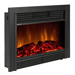 Best Choice Products SKY1826 Embedded Fireplace Electric Insert Heater Glass View Log Flame Remo ...