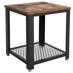 SONGMICS 2-tiered End Table Square-Frame Side Table with Metal Grate Shelf Vintage ULET41X