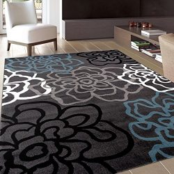 Rugshop Contemporary Modern Floral Flowers Area Rug, 5′ 3″ x 7′ 3″, Gray