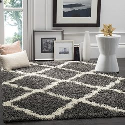 Safavieh Dallas Shag Collection SGD257A Dark Grey and Ivory Square Area Rug, 6 feet Square (6&#8 ...
