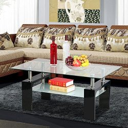Yaheetech Living Room Rectangular Glass Top Coffee Tables Wood & Chrome Finish Legs with Gla ...