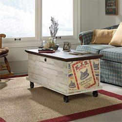 Sauder Eden Rue Rolling Trunk Coffee Table in White Plank