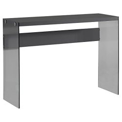 Monarch specialties I 3294, Console Sofa Table, Tempered Glass, Glossy Grey , 44″L