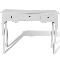 Festnight White Dressing Console Table with Three Drawers
