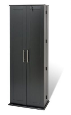 Black Grande Locking Media Storage Cabinet with Shaker Doors