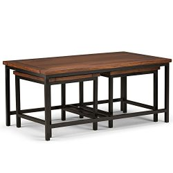Simpli Home Skyler 3 Piece Nesting Coffee Table, Dark Cognac Brown