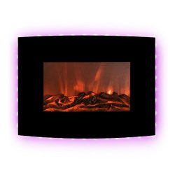 FLAMEandSHADE 22″ Electric Fireplace Heater, Wall Fireplace with Remote, 10 LED Flame and  ...