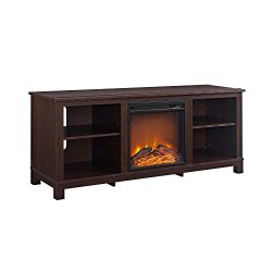 Ameriwood Home Edgewood TV Console with Fireplace for TVs up to 60″, Espresso