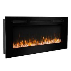 PuraFlame 50″ Alice In-Wall Recessed Electric Fireplace, Touch Screen Control Panel, Remot ...