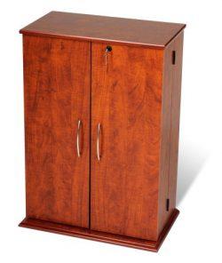 Cherry & Black Locking Media Storage Cabinet