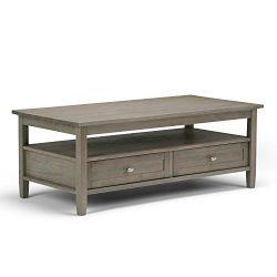 Simpli Home Warm Shaker Coffee Table, Distressed Grey
