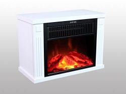 3G Plus 14″ Mini Electric Fireplace Portable Heater Log Fuel Effect, 1000 Watt-White