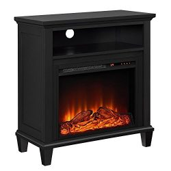 Ameriwood Home Ellington Electric Fireplace Accent Table TV Stand for TVs up to 32″, Black