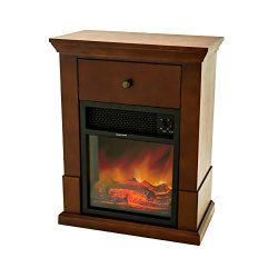 FLAME&SHADE Electric Fireplace with Mantel TV Stand, Small Portable Fireplace Wood Stove Hea ...