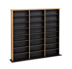 Prepac Oak Triple Width Wall Media (DVD,CD,Games) Storage Rack