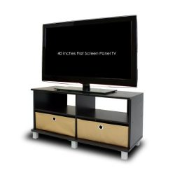 Furinno 11156EX/BR Entertainment Center w/2 Bin Drawers, Espresso/Brown