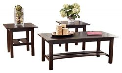 Ashley Furniture Signature Design – Lewis Occasional Table Set with Plank Style Shelves &# ...