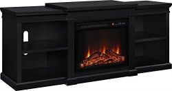 Ameriwood Home Manchester Electric Fireplace TV Stand for TVs up to 70″, Black