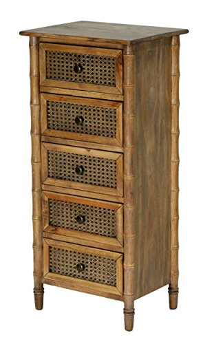Heather Ann Creations Wallace Collection Living Room Bamboo Style 5 Drawer Tall Free Standing
