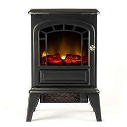 Aspen Portable Free Standing Electric Fireplace Stove by e-Flame USA – 23-inches Tall – Matte Bl ...