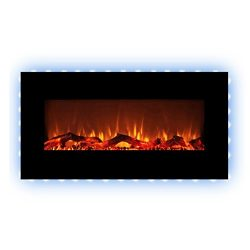 FLAMEandSHADE 42″ Electric Fireplace Heater, Wall Fireplace with Remote, Free Standing or  ...