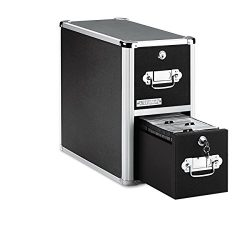 Vaultz Locking CD File Cabinet, 2 Drawers, 8 x 14.5 x 15.5 Inches, Black (VZ01094)