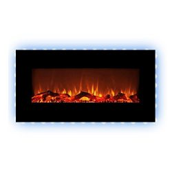 FLAMEandSHADE 34″ Electric Fireplace Space Heater with Remote, 10 LED Flame and Backlight  ...