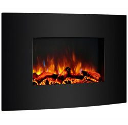 PuraFlame 36″ Vivian Wall Mounted Curved Panel Electric Fireplace with Remote Control, 150 ...
