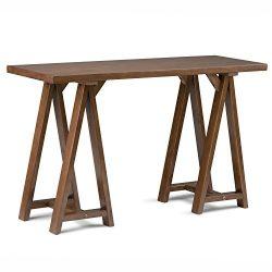 Simpli Home Sawhorse Console Sofa Table, Medium Saddle Brown