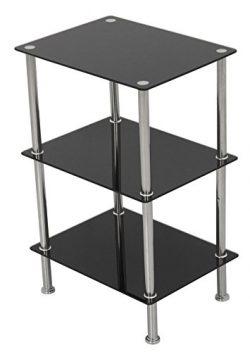 AVF S33-A Small 3 Tier Shelving Unit in Black Glass & Chrome