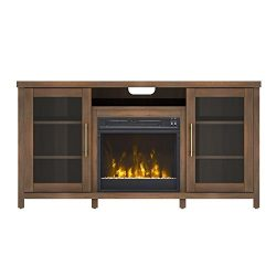 Pamari 208282 Milena Stand with Electric Fireplace for Tvs up to 60″ Stanton Birch Brown