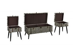3 Piece Chest Wooden Coffee and Side Tables Living Room Set (Grey)