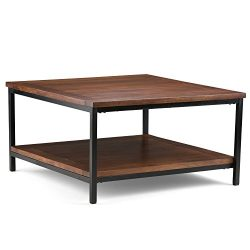 Simpli Home Skyler Square Coffee Table, Dark Cognac Brown